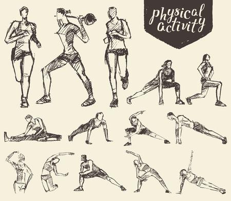motion: Fitness och gymnastiska övningar. Handritad vektor illustration, skiss
