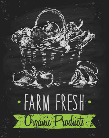 food illustration: Organic product background on chalkboard farm food poster on blackboard healthy food template hand drawn vector illustration Illustration