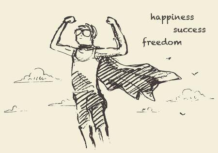 alegria: Dibujado a mano ilustración vectorial de un niño con una capa ondeando, al aire libre. La libertad, la felicidad concepto creatividad. Ilustración del vector del bosquejo Vectores
