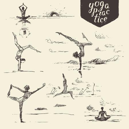 personas saludables: dibujado a mano la colección de ejercicios de yoga, yoga de la mujer, estilo de vida saludable. Vector de ilustración, grabado, dibujo Vectores
