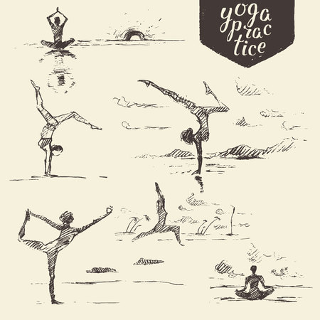 healthy people: Hand drawn collection of yoga exercises, woman yoga, healthy lifestyle. Vector engraved illustration, sketch