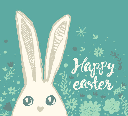 Happy Easter greeting card with cute easter bunny and easter