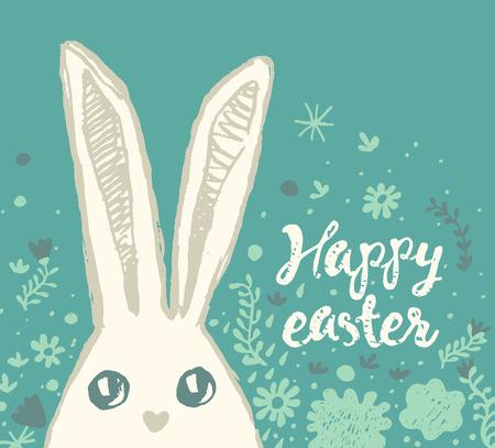 Tarjeta de felicitación feliz de pascua con el conejito de pascua y la pascua lindos Ilustración de vector