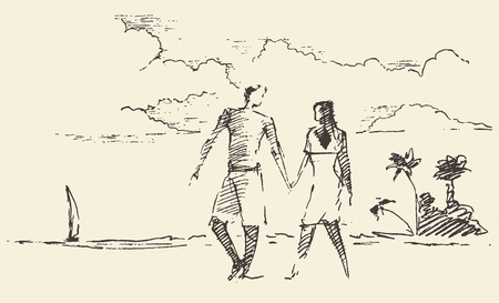 resort: Beautiful hand drawn illustration of two lovers on vacation with seaside view and beach, vector illustration, sketch Illustration