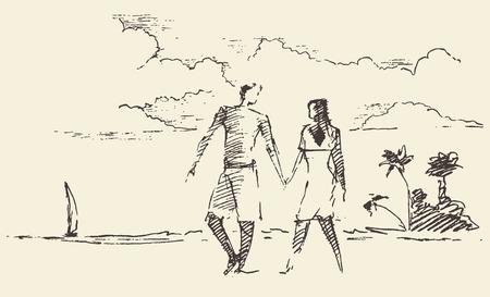 zeichnen: Schöne Hand gezeichnete Illustration von zwei Liebhaber im Urlaub mit Blick aufs Meer und Strand, Vektor-Illustration, Skizze