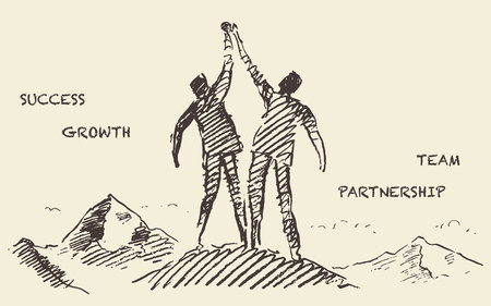 surmount: illustration of a two a successful climbers on a mountain sketch teamwork partnership concept illustration sketch Illustration