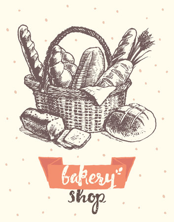 bread: vintage illustration basket with fresh bread template for bakery shop