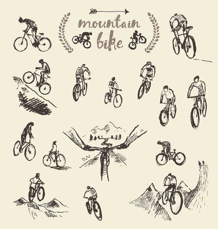 biking: Big set of  mountain bikes, illustration, sketch