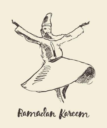 Whirling dervish mevlana sufi sketch Illustration