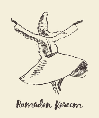 sufism: Whirling dervish mevlana sufi sketch Illustration