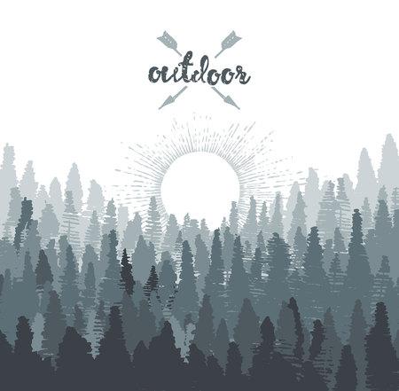 Pine bos in bergen bij zonsopgang ontwerp sjabloon, illustratie