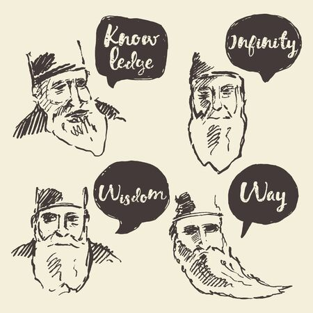 old man portrait: Sketch of old sage with talk boxes, speech bubbles, with place for your text Illustration