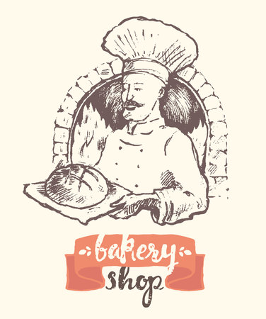 wheaten: illustration of a baker man, bakery shop template, sketch Illustration