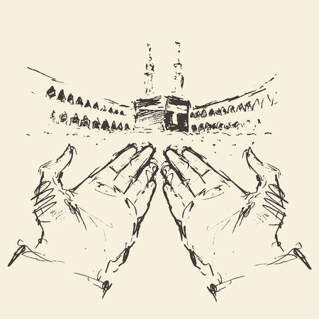 Holy Kaaba in Mecca Saudi Arabia with praying hands engraved illustration hand drawn Vetores