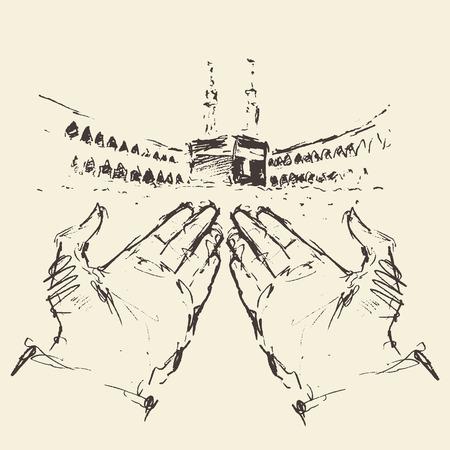 Kaaba en La Meca Arabia Saudita con las manos juntas dibujado a mano ilustración grabada Ilustración de vector