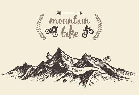 Bicyclists équitation dans les montagnes, une affiche de vélo de montagne dessiné à la main, illustration Banque d'images - 55081257