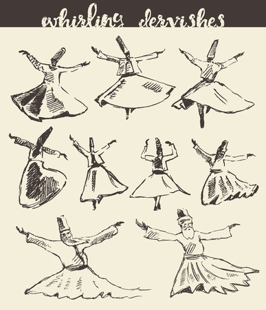 sufism: Whirling dervishes illustration hand drawn sketch
