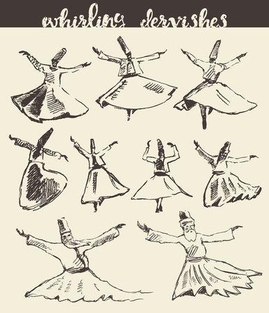 Whirling dervishes illustration hand drawn sketch