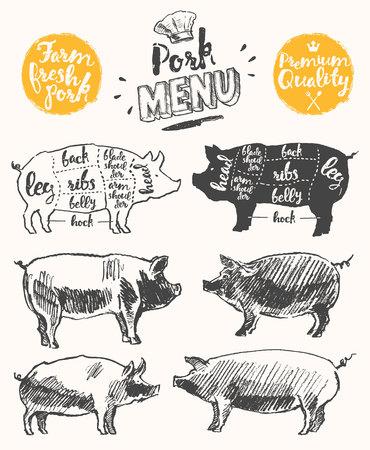 Vintage Restaurant Fleisch-Menü-Vorlage amerikanische Schema Schweinefleisch Schnitte Hand gezeichnete Illustration Vektorgrafik