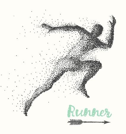running man: Hand drawn runner silhouette on white background run man