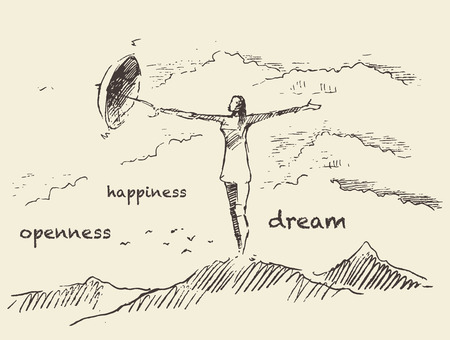 openness: Hand drawn illustration of young woman with umbrella on top of the mountain openness happiness concept illustration sketch