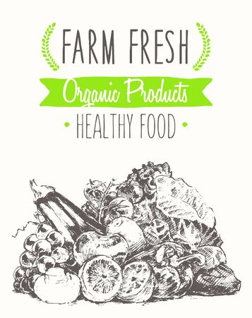 organic food: Organic product background farm food poster healthy food template with sticker hand drawn illustration
