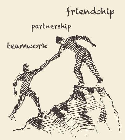 surmount: Hand drawn illustration of a man, helping another man climb, sketch. Teamwork, partnership concept.