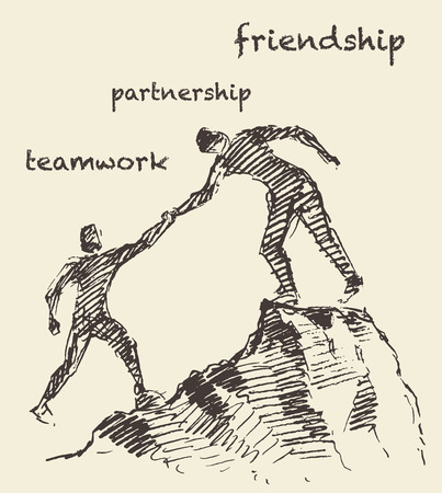 Hand drawn illustration of a man, helping another man climb, sketch. Teamwork, partnership concept.