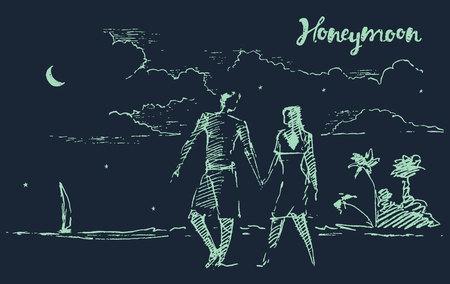 luna de miel: Ilustración dibujado a mano hermoso de dos amantes en luna de miel, en la playa de noche, ejemplo, bosquejo