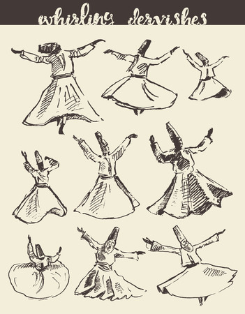 sufism: Whirling dervishes vector illustration hand drawn sketch
