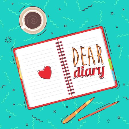 diary: Open blank notepad, pens and coffee on background. View from above