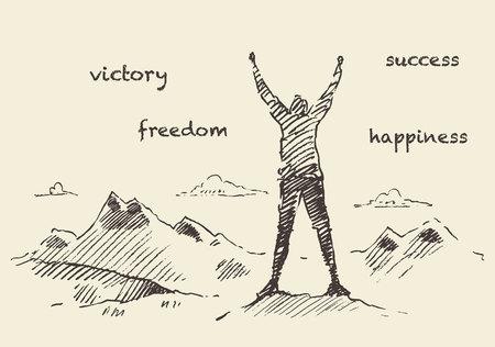 Hand gezeichnet Vektor-Illustration, Silhouette eines erfolgreichen Bergsteiger auf einem Berg, Skizze Standard-Bild - 55752126