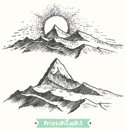 highland: Sketch of a mountains, sunrise in mountains, engraving style, hand drawn vector illustration Illustration