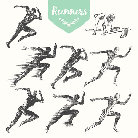 road runner: Set of hand drawn runners silhouette on white background