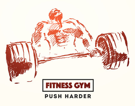 Hand drawn illustration of strong man for logo or poster