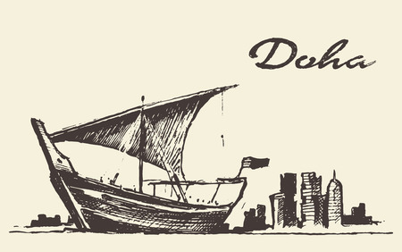 doha: Doha skyline with Dhow Qatar vector illustration hand drawn sketch