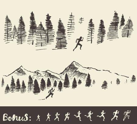 Hand gezeichnet Vektor-Illustration, Silhouette eines Mannes, läuft durch den Wald, Skizze