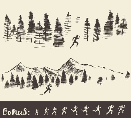hombres corriendo: Mano vector dibujado, la silueta de un hombre que se ejecuta a través del bosque, bosquejo