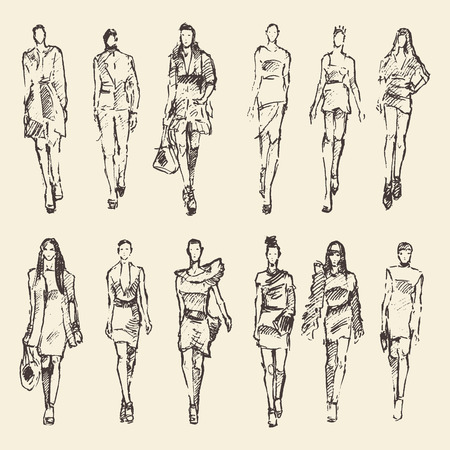 defile: Sketch of fashion girls hand drawn vector illustration