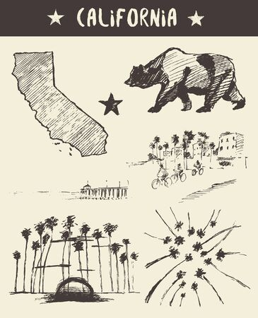 california state: Hand drawn set of California state, vector illustration, sketch