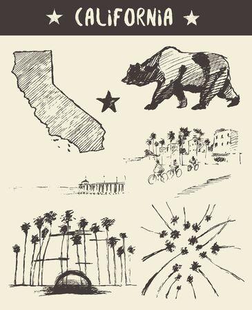Hand getrokken set van de staat Californië, vector illustratie, schets