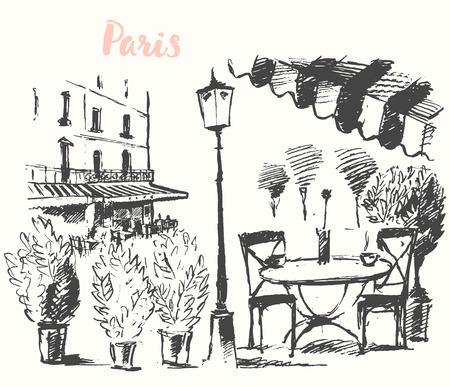 Streets in Paris, France. Vector illustration of a street cafe in Paris. Vintage hand drawn illustration, sketch