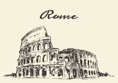 Streets in Rome Colosseum vector illustration hand drawn sketch Illustration