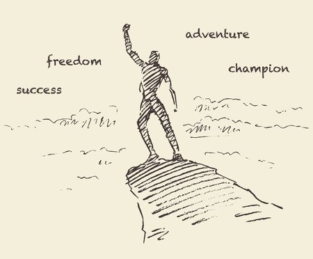 surmount: Hand drawn vector illustration, silhouette of a successful climber on a mountain, sketch