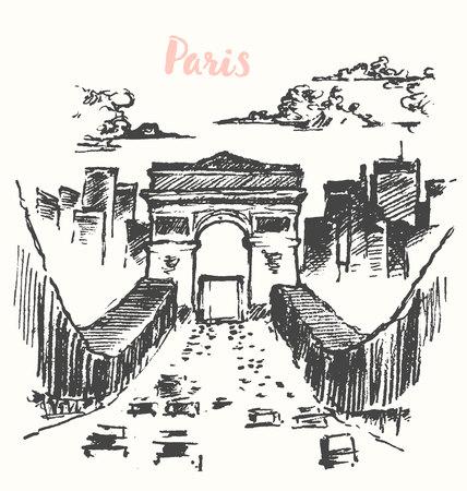 triumphe: Arch of Triumph, Paris, France, city architecture, vintage engraved illustration hand drawn