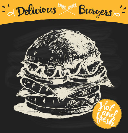 chalk drawing: Hand drawn vector illustration of a big burger on blackboard with label hot and fresh sketch Illustration