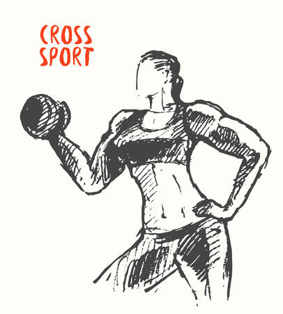 strong woman: Hand drawn illustration of strong woman Illustration