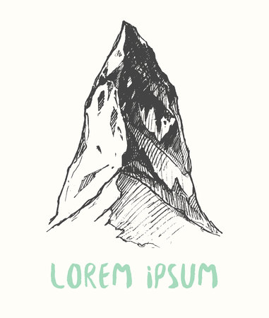 tirol: Sketch of a mountain, engraving style, hand drawn vector illustration Illustration