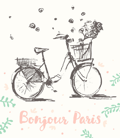 bonjour: Hand drawn cute vintage bicycle with flying flowers, Bonjour Paris, vector illustration