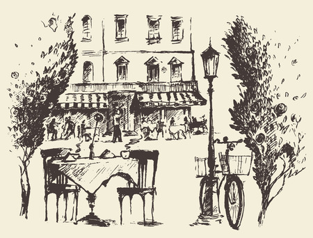 Streets in Paris, France. Vector illustration of a street cafe in Paris. Vintage hand drawn illustration, sketch